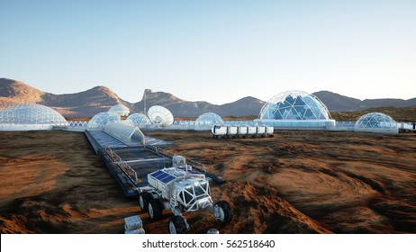 Mars base, colony. Expedition on alien planet. Aerial view. Geo capsyles. Life on Mars. 3d rendering.