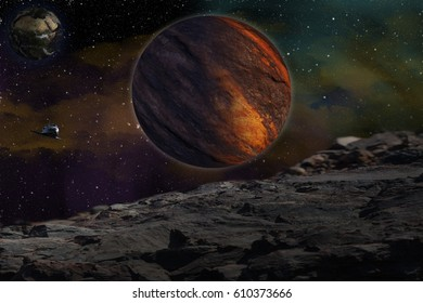 Mars, Earth   . The planet in space. Solar system. Others galaxy. A fog in the Universe . Studying of others planet . Elements of this image furnished by NASA