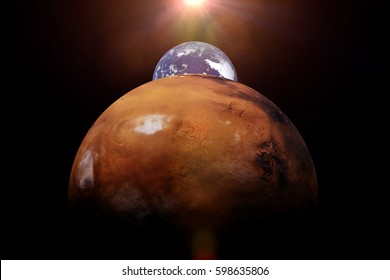 Mars, Earth and the Sun (3d illustration, elements of this image are furnished by NASA)