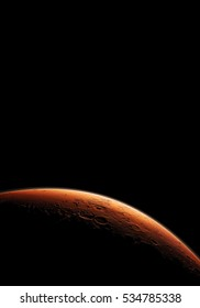 Mars. Minimalistic style set of planets in solar system. Black background. Place for text and infographics. Elements of this image furnished by NASA. Astronomy and science concept. Space theme Cosmos