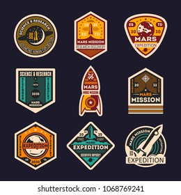 Mars mission retro isolated label set. Space expedition badge, scientific odyssey symbol, modern spacecraft flying, martian discovery illustration. Planet colonization vintage sign collection.