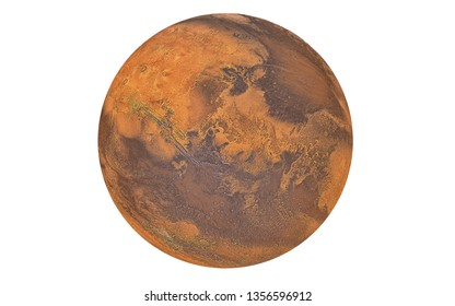 Mars Planet isolated in white, Elements of this image furnished by NASA