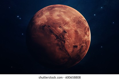 Mars - planets of the Solar system in high quality. Science wallpaper. Elements furnished by NASA