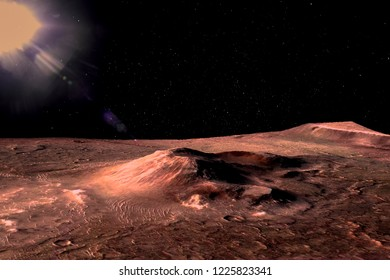 Mars - the red planet. Martian surface with hills and craters and dust in the atmosphere. Lens flare. The elements of this image furnished by NASA.