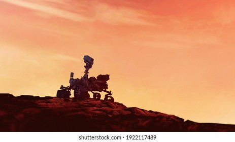 Mars Rover Perseverance exploring the red planet. Mission to explore the red planet. search for traces of life. Elements of image furnished by NASA.