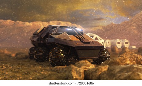 Mars Rover Space Travel. 3D rendering