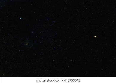 Mars and Saturn join Antares, Acrab and Dschubba.