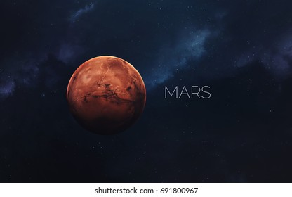 Mars. Science fiction space wallpaper, incredibly beautiful planets, galaxies, dark and cold beauty of endless universe. Elements of this image furnished by NASA