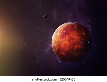 The Mars shot from space showing all they beauty. Extremely detailed image, including elements furnished by NASA. Other orientations and planets available.