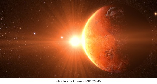The Mars sunrise shot from space showing all they beauty. Extremely detailed image Elements of this image furnished by NASA
