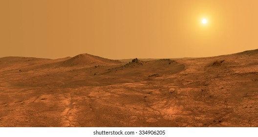 Mars surface with sun in background - Elements of this image furnished by NASA