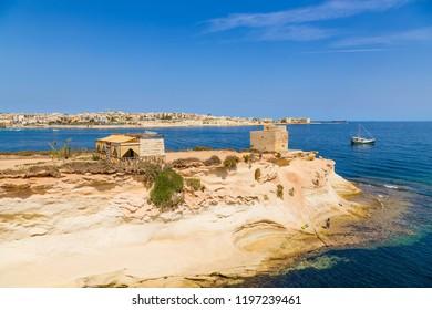Marsaskala, Malta. The picturesque coast of St. Thomas Bay