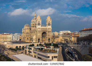 Marseille cathedral, Cathedrale Sainte-Marie-Majeure de Marseille, one of the largest cathedral in France, Byzantine-Roman style catholic church, located near old port of Marseilles
