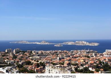 Marseille city view from the notre dame de la garde's hill