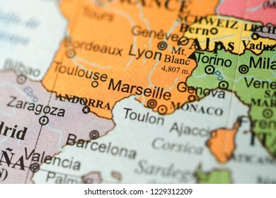 Marseille. Europe on a geography map