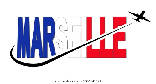 Marseille flag text with plane silhouette and swoosh illustration