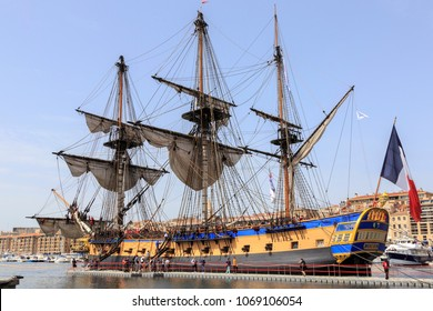 Marseille, France. 04 15 2018. Old French battle ship, l'Hermione. In the old harbor of Marseille, France