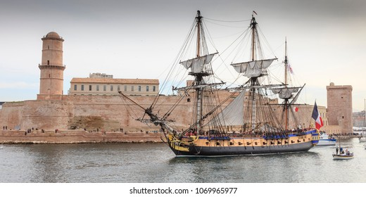 Marseille, France. 04 16 2018. Old French battle ship, l'Hermione. In the old harbor of Marseille, France