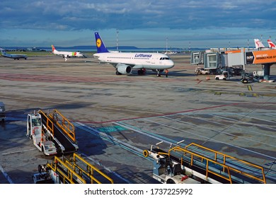 MARSEILLE, FRANCE -16 NOV 2019- View of an Airbus A 319 from German airline Lufthansa (LH) at the Marseille Provence Airport (MRS)  in Marignane Bouches-du-Rhone, France.
