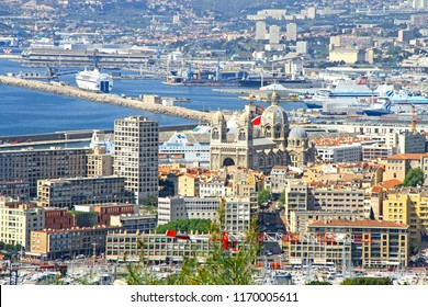 MARSEILLE, FRANCE - 20 of April 2018: View of Marseille from the Basilica of Notre-Dame de la Garde (Our Lady of the Guard) in Marseilles, France