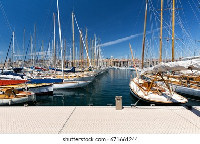 Marseille, France - 24 May, 2016: Sailboats in the old port of Marseille, France on a summer day.