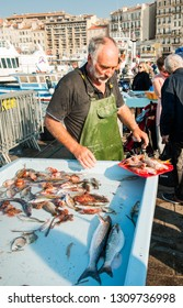 MARSEILLE, FRANCE - 28 September, 2017: Fish market in Vieux Port is the popular tourist attraction. Marseille is France's largest city on the Mediterranean coast and largest commercial port. France.