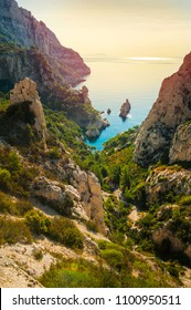 MARSEILLE, FRANCE-  30 September 2017: The Calanque de Sugiton is one of the numerous Calanques located between Marseille and Cassis, France.
