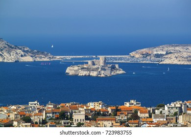 Marseille, France. Aerial view of the city, the sea and the castle d'if
