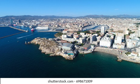 Marseille, France, aerial view of the harbor, Mediterranean seaside, seascape