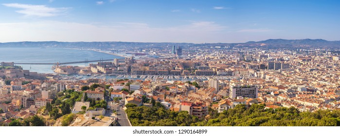 Marseille France, aerial view panorama city skyline at Vieux Port