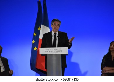 Marseille, France - April 14, 2017 : French presidential election candidate for the right-wing Les Republicains (LR) party Francois Fillon gives a speech during a campaign rally