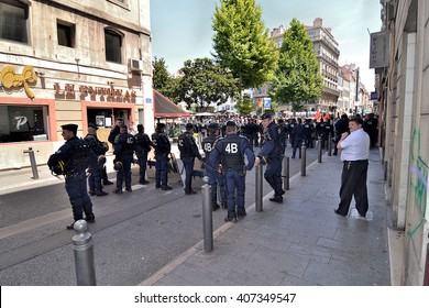 Marseille, France - April 16, 2016 :  French policemen, CRS, pictured during a demonstration