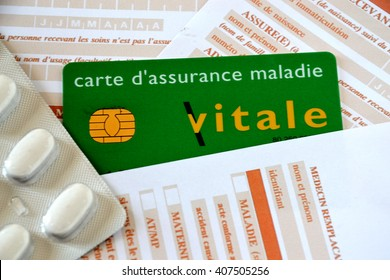 Marseille, France - April 18, 2016 :  Vital card and care sheets