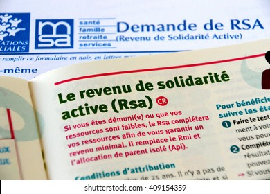 Marseille, France - April 21, 2016 : RSA (revenu de solidarite active) allowance form