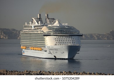 Marseille, France - April 23, 2018 : The US company Royal Caribbean Cruise Limited (RCCL) tourism cruise liner 'Symphony of the Seas' arrives in Marseille, southern France on April 23, 2018