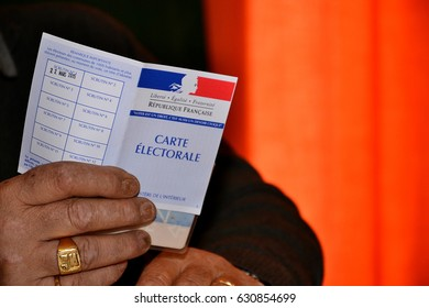 Marseille, France - April 30, 2016 : French electoral card pictured during a vote