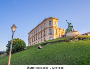 MARSEILLE, FRANCE - AUGUST 07, 2017: Sailors Monument and Palais du Pharo in Jardin du Pharo, Marseille, France.