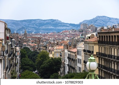 MARSEILLE, FRANCE - August 1, 2017: Marseille, France. View on the mountain Calanques and the city