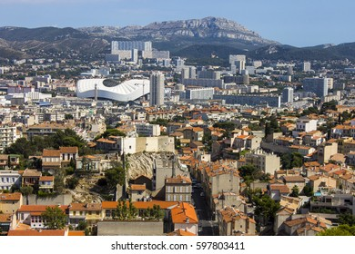 MARSEILLE, FRANCE - August 11, 2016: Views of Marseille, France's second largest city, from the church of Notre-Dame de la Garde on a beautiful summer day.