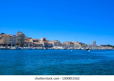 MARSEILLE, FRANCE - AUGUST 11, 2018 - Panoramic view of the left embankment of Old Port of Marseille, Vieux-Port de Marseille, France.