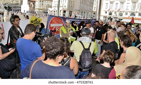 Marseille, France - August 28, 2016 : Muslims gathered at the old port of Marseille for publicly express their anger at a political-media class that continues to fuel Islam phobia