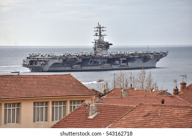 Marseille, France - December 20, 2016 : The American aircraft carrier USS Dwight D. Eisenhower left Marseille