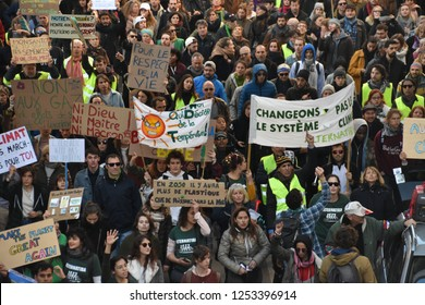 Marseille, France - December 24, 2018 : Walk for the climate
