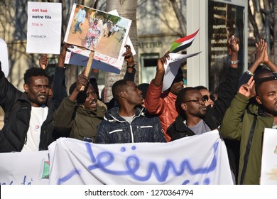 Marseille, France - December 29, 2018 : Peaceful demonstration in support of the mobilization against the dictatorship of Al-Bashir in Sudan