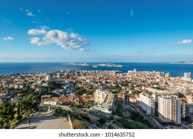 Marseille, France - December 4, 2016: View of Marseille from basilica Notre-Dame de la Garde with the islands and If Castle, Provence, France.