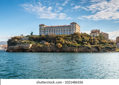 Marseille, France - December 4, 2016: View from the sea to the Pharo palace located at a high point of the Marseille coast line in Provence, France. It was built in 1858 by Napoleon III.