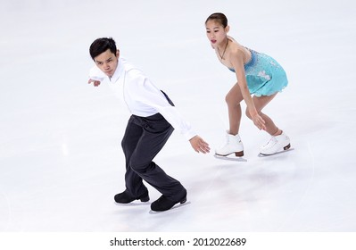 MARSEILLE, FRANCE - DECEMBER 9, 2016: Cheng PENG and Yang JIN of China during the pairs Free Skating event at ISU Grand Prix Final of figure skating in Palais Omnisports Marseille