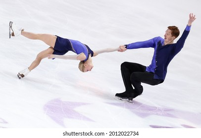 MARSEILLE, FRANCE - DECEMBER 9, 2016: Evgenia TARASOVA and Vladimir MOROZOV of Russia during the pairs Free Skating event at ISU Grand Prix Final of figure skating in Palais Omnisports Marseille