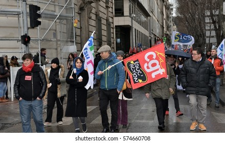 Marseille, France - February 08, 2016 : More than 400 pupils and teachers of schools located in a zone of priority education (ZEP) were mobilized again, to demonstrate in the streets of Marseille