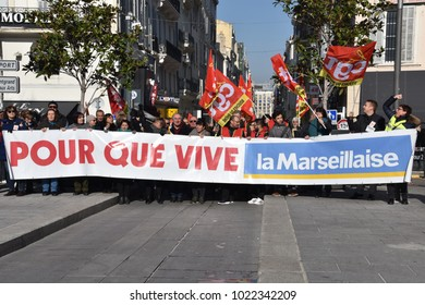 "Marseille, France - February 09, 2018 : Employees of left-wing newspaper ""La Marseillaise"" rally in Marseille to demand government support as the newspaper, placed into receivership, could lose 44 job"